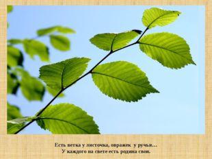 Есть ветка у листочка, овражек у ручья… У каждого на свете есть родина своя.