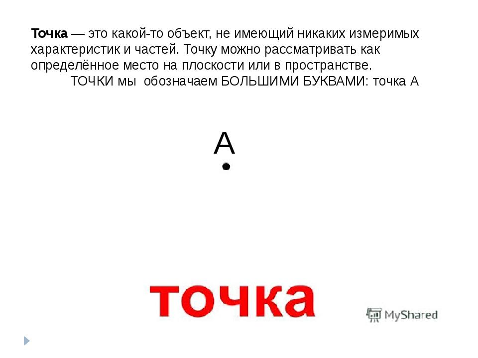 А Точка— это какой-то объект, не имеющий никаких измеримых характеристик и ч...