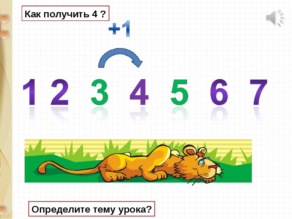 Как получить 4 ? Определите тему урока?