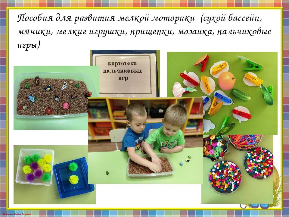 Пособия для развития мелкой моторики(сухой бассейн, мячики, мелкие игрушки,...