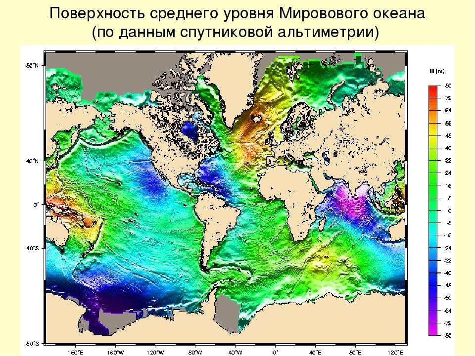 Поверхность среднего уровня Мировового океана (по данным спутниковой альтимет...
