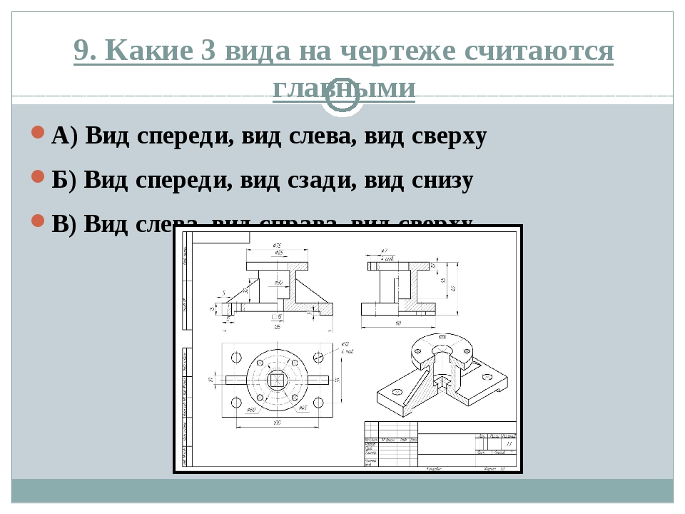 9. Какие 3 вида на чертеже считаются главными А) Вид спереди, вид слева, вид...