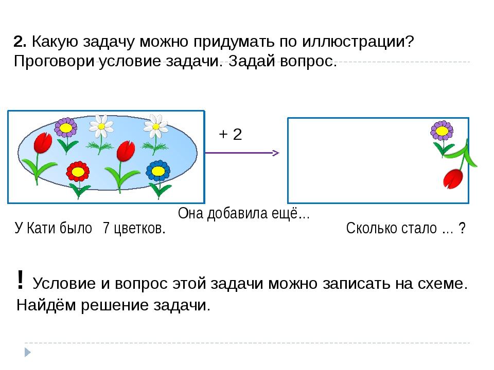 ? 2. Какую задачу можно придумать по иллюстрации? Проговори условие задачи. З...