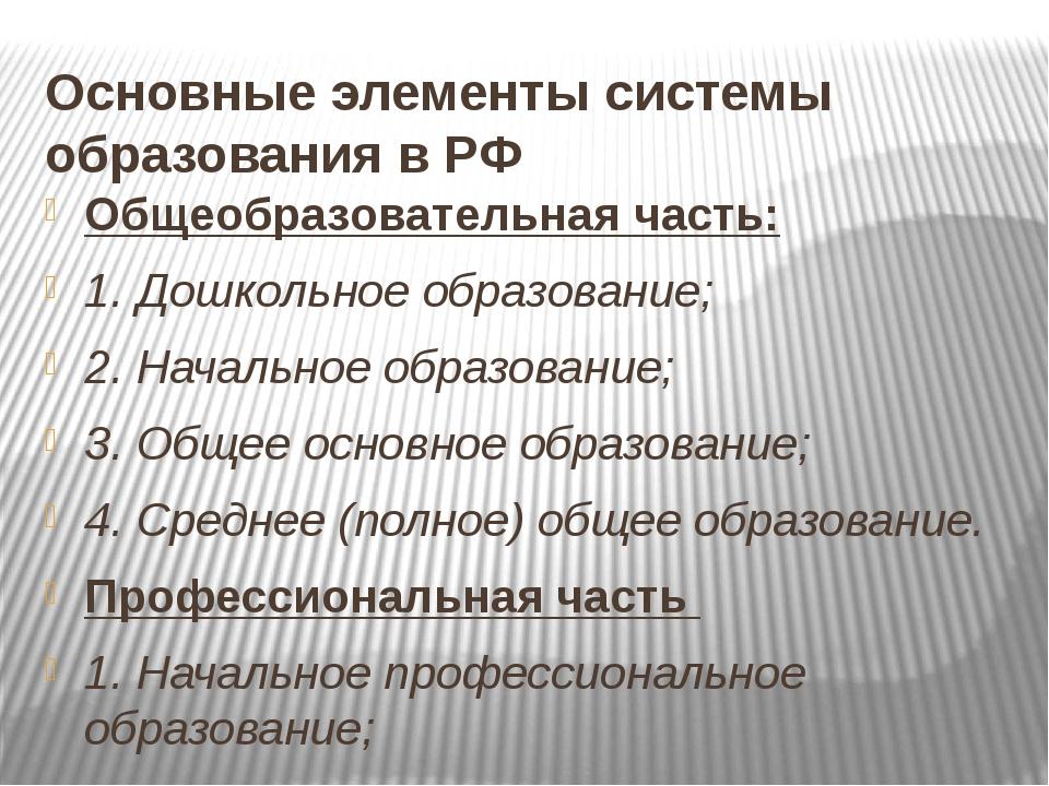 Основные элементы системы образования в РФ Общеобразовательная часть: 1. Дошк...