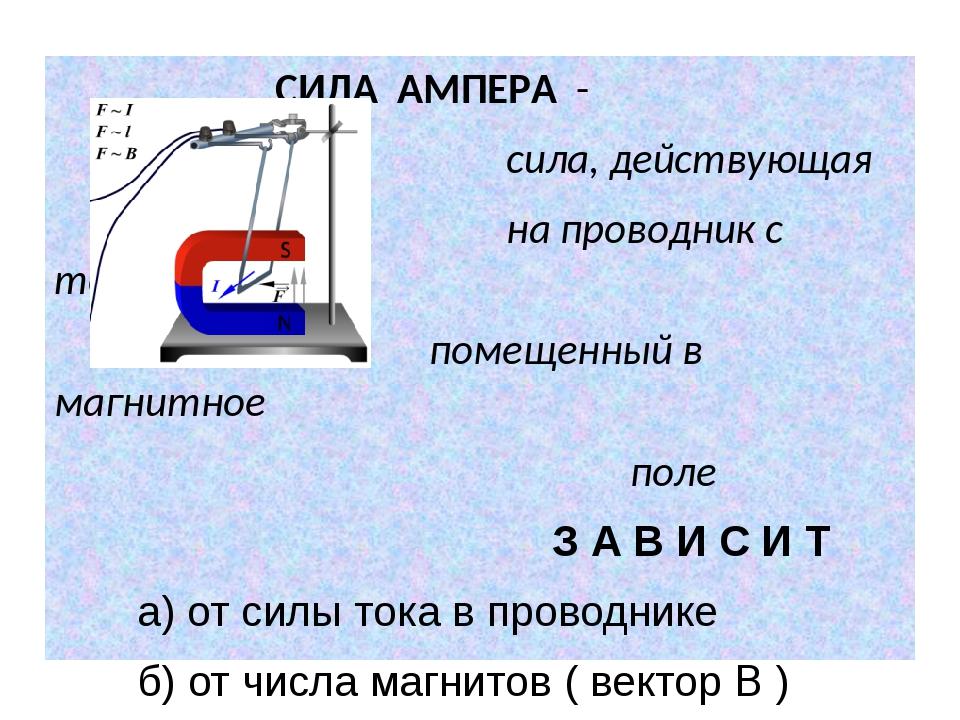 СИЛА АМПЕРА - сила, действующая на проводник с током, помещенный в магнитное...