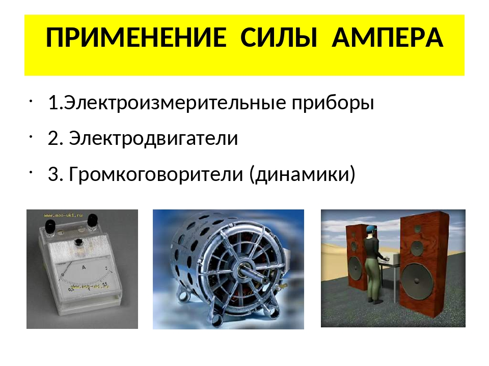 ПРИМЕНЕНИЕ СИЛЫ АМПЕРА 1.Электроизмерительные приборы 2. Электродвигатели 3....