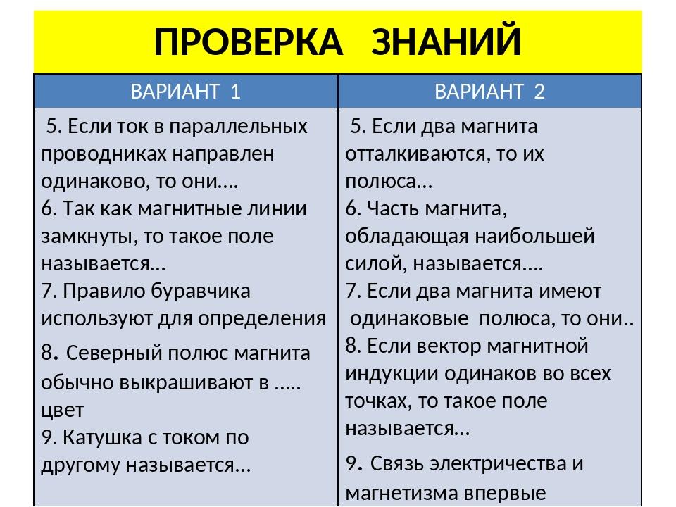 ПРОВЕРКА ЗНАНИЙ ВАРИАНТ1 ВАРИАНТ2 5. Если ток в параллельных проводниках напр...