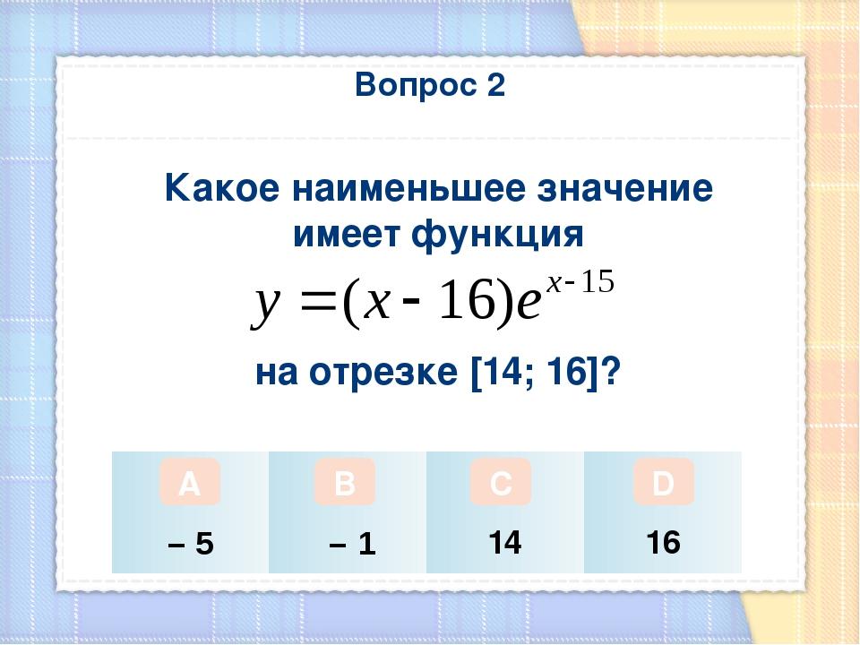 Вопрос 2 Какое наименьшее значение имеет функция на отрезке [14; 16]? А В С D...