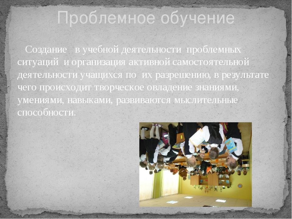 Создание в учебной деятельности проблемных ситуаций и организация активн...