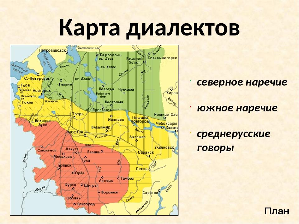 Карта диалектов План северное наречие южное наречие среднерусские говоры
