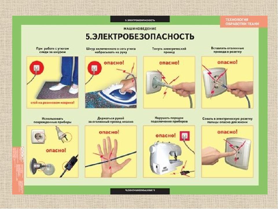 Плакат по технике безопасности с электроприборами