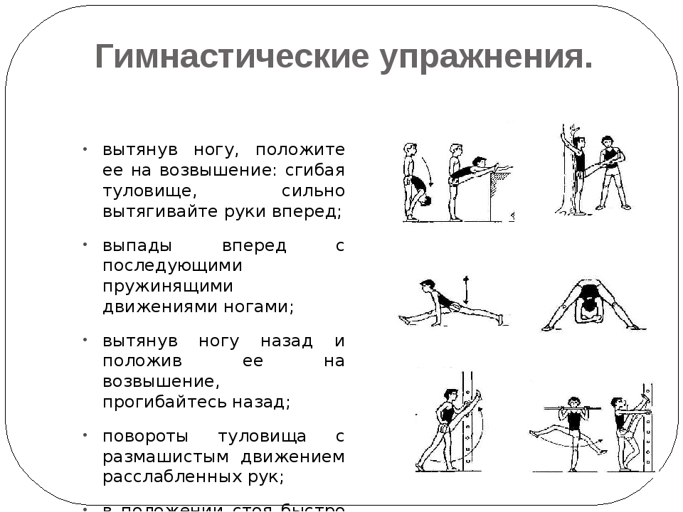 Гимнастические упражнения. вытянув ногу, положите ее на возвышение: сгибая ту...