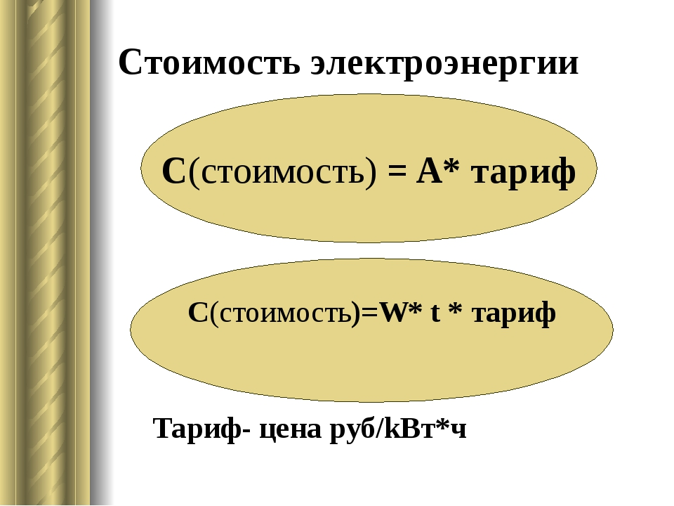 Cтоимость электроэнергии Тариф- цена руб/kВт*ч С(стоимость) = A* тариф С(стои...