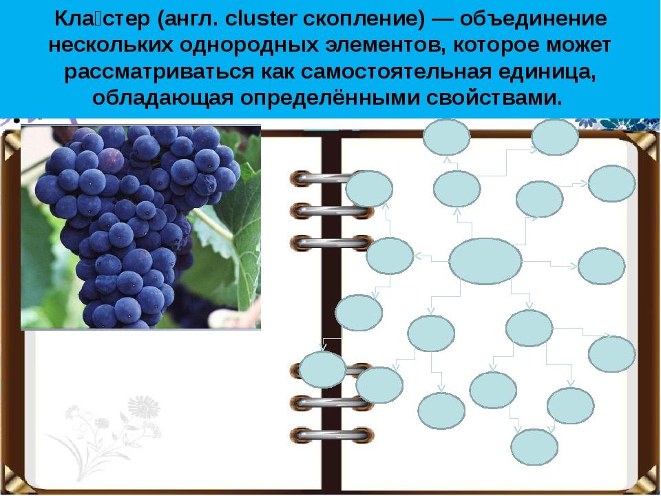 Кла́стер (англ. cluster скопление) — объединение нескольких однородных элемен...