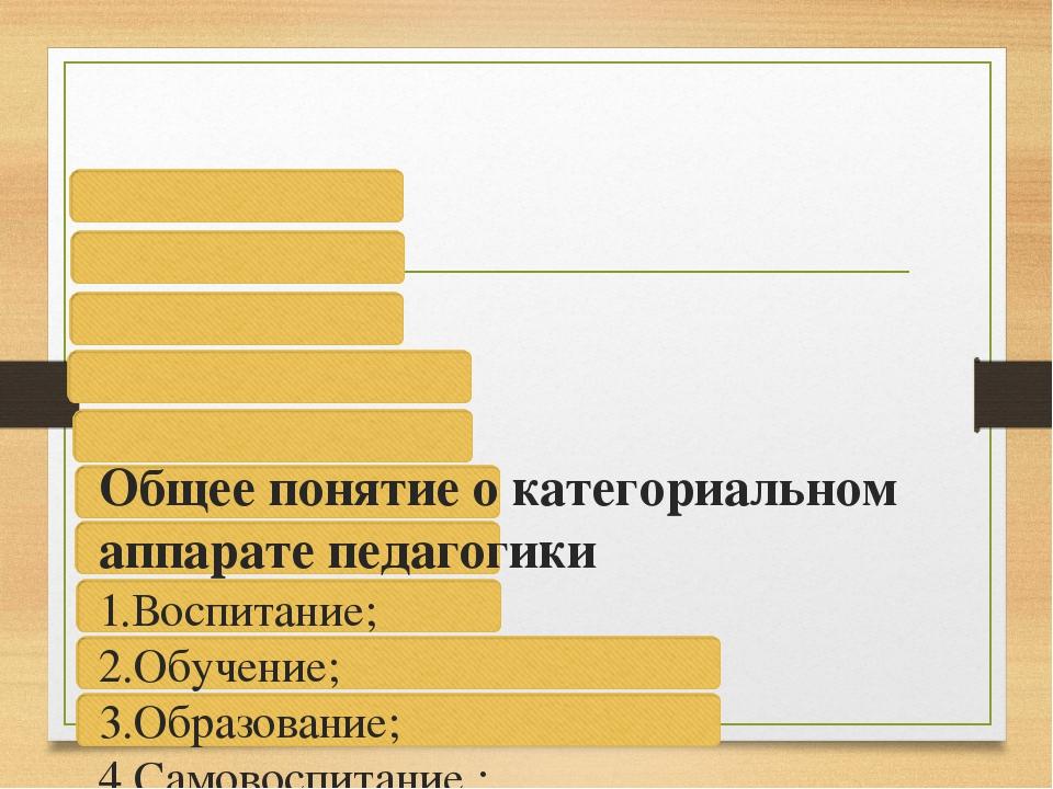 Общее понятие о категориальном аппарате педагогики 1.Воспитание; 2.Обучение;...
