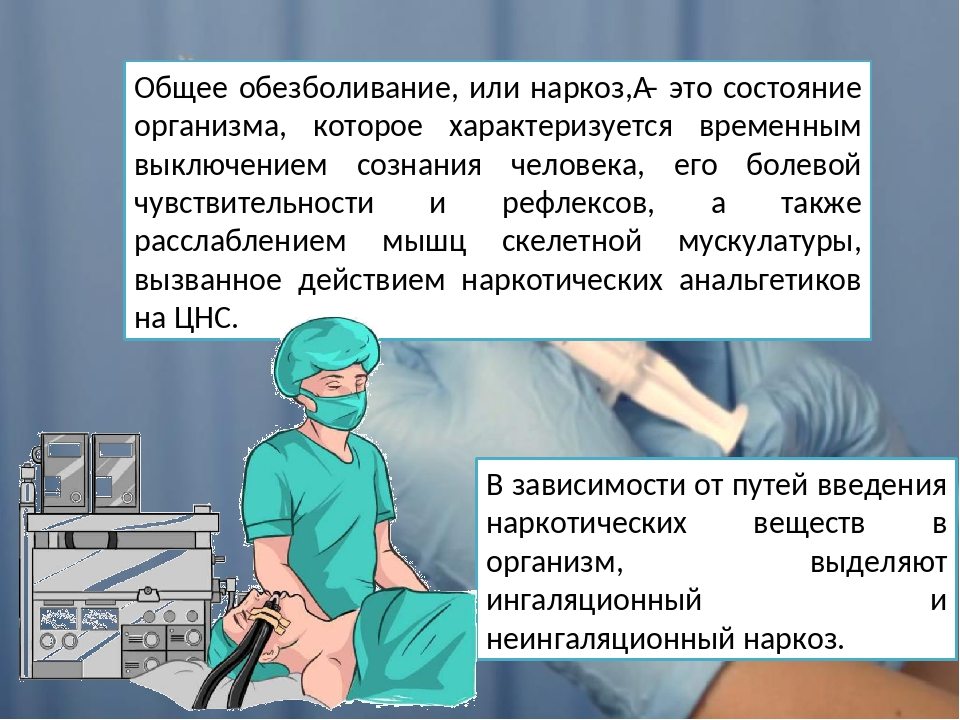Общее обезболивание, или наркоз,– это состояние организма, которое характери...