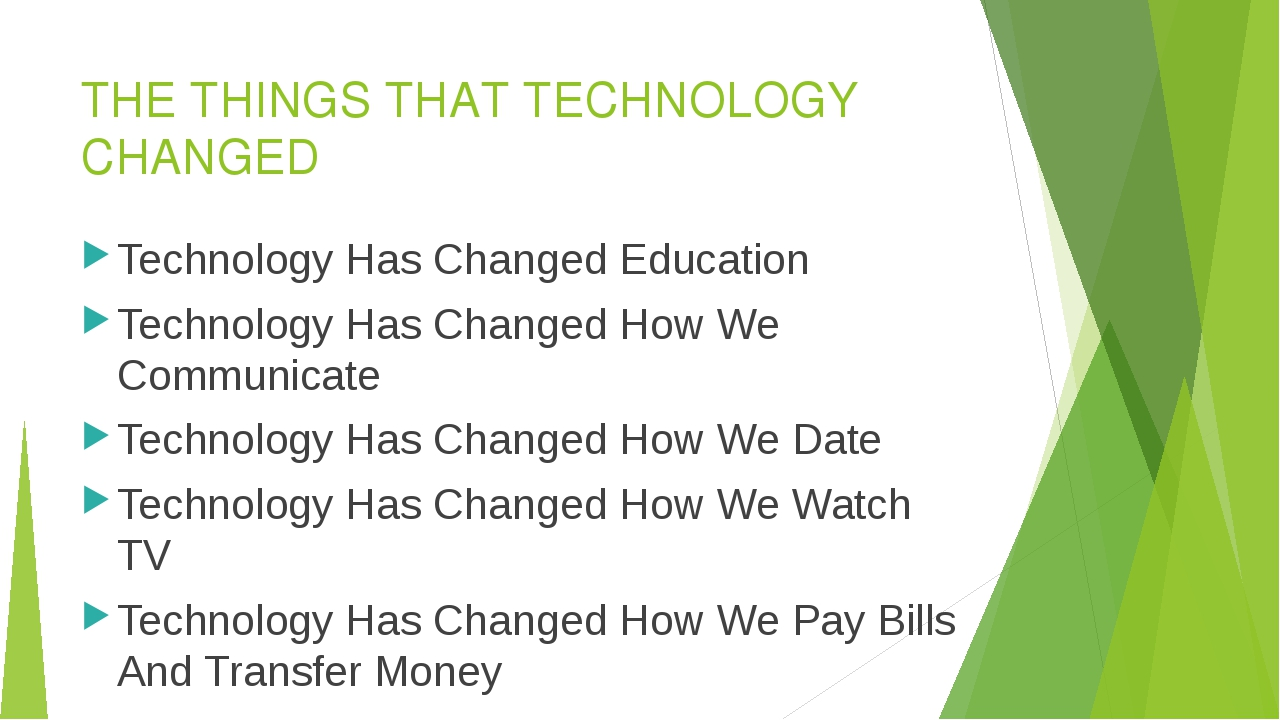 THE THINGS THAT TECHNOLOGY CHANGED Technology Has Changed Education Technolog...