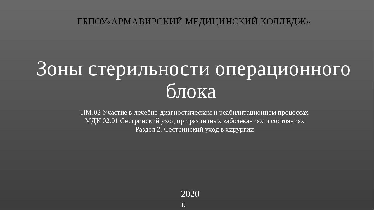 2020 г. ГБПОУ«АРМАВИРСКИЙ МЕДИЦИНСКИЙ КОЛЛЕДЖ» Зоны стерильности операционног...