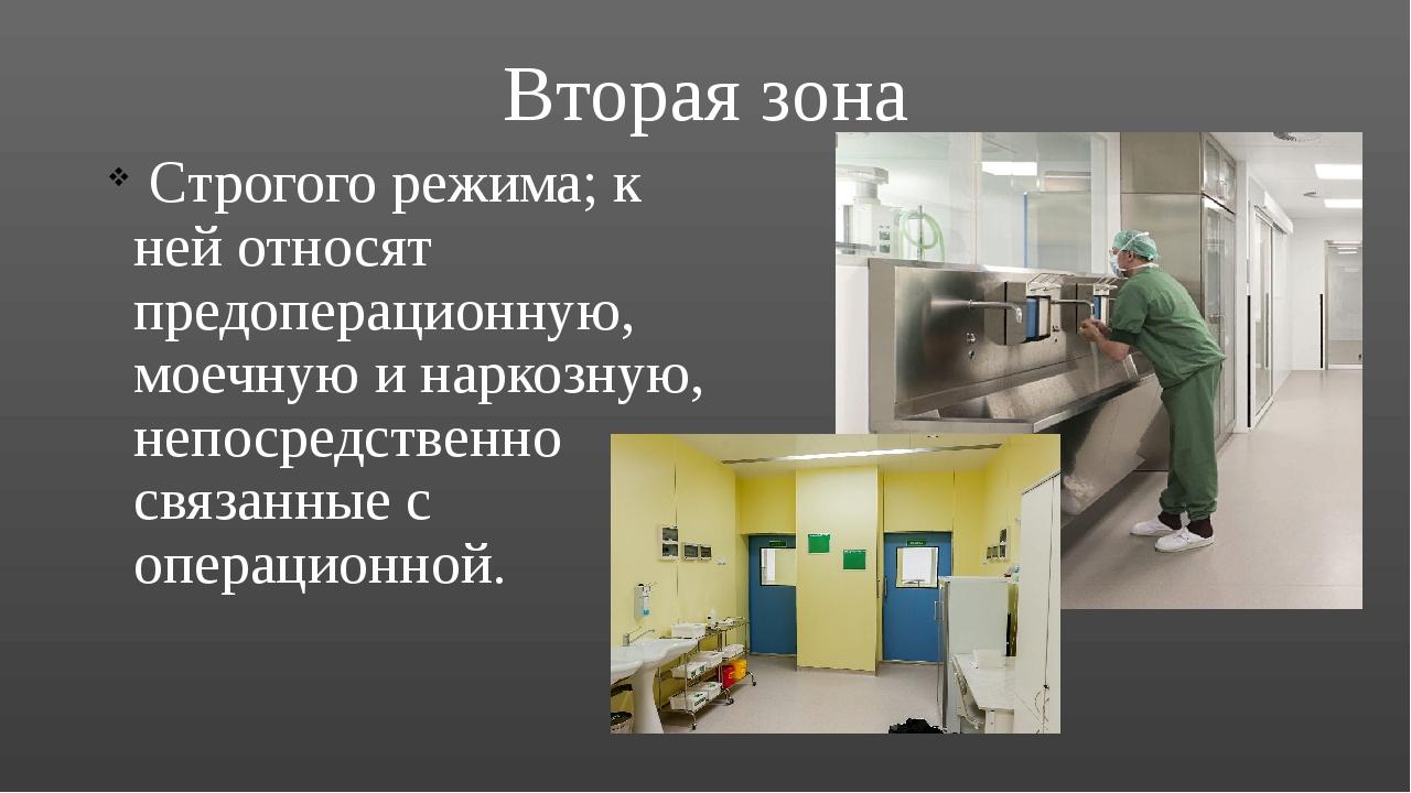 Вторая зона Строгого режима; к ней относят предоперационную, моечную и наркоз...