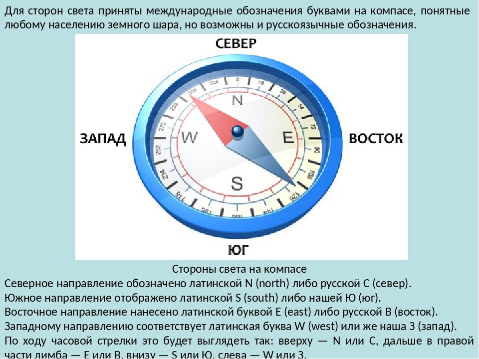 фотография компаса с подписанием сторон света изменить