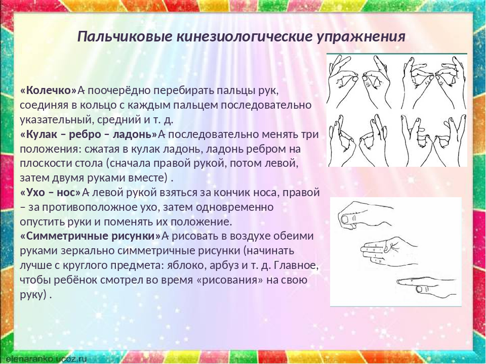 Пальчиковые кинезиологические упражнения «Колечко»- поочерёдно перебирать па...