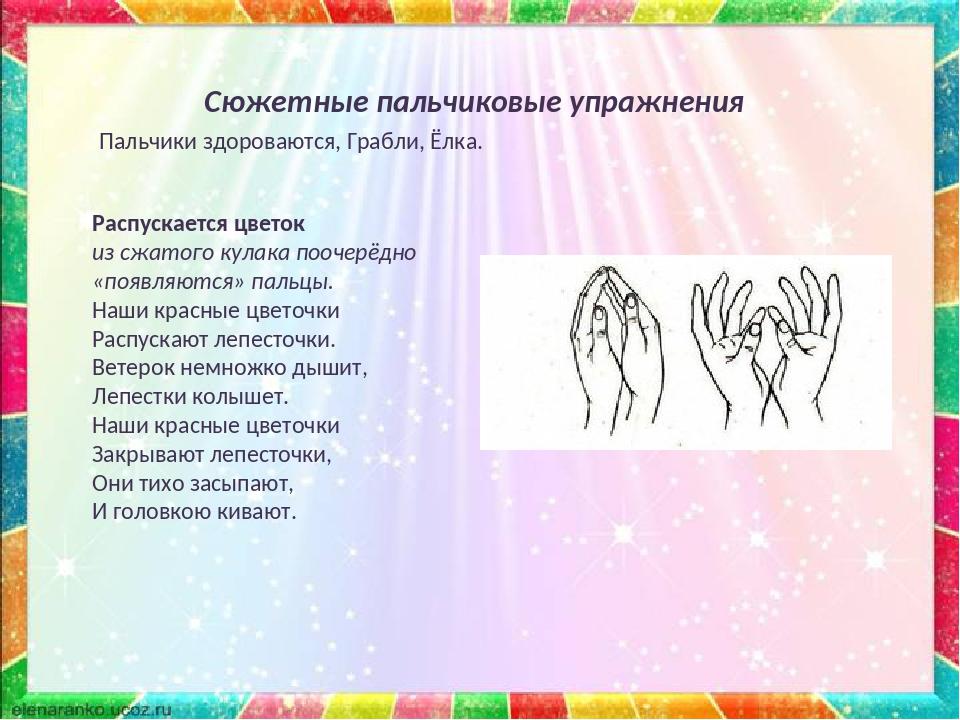 Сюжетные пальчиковые упражнения Распускается цветок из сжатого кулака поочерё...