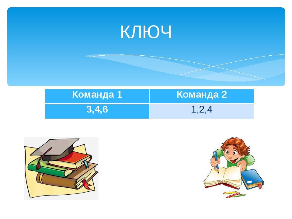 КЛЮЧ Команда 1Команда 2 3,4,61,2,4