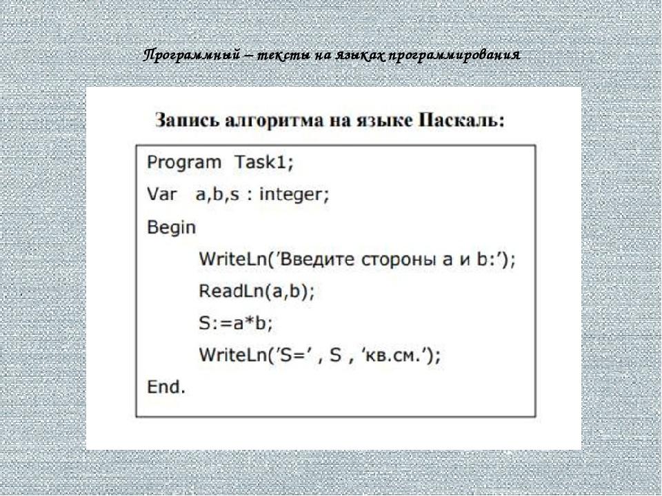 Программный – тексты на языках программирования