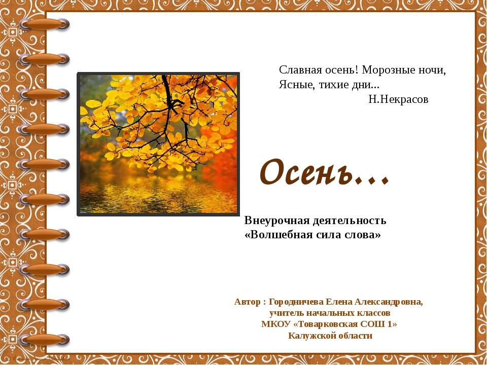 Славная осень! Морозные ночи, Ясные, тихие дни... Н.Некрасов Внеурочная деяте...
