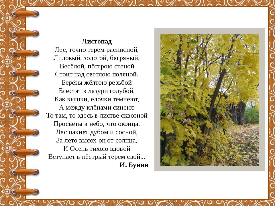 Листопад Лес, точно терем расписной, Лиловый, золотой, багряный, Весёлой, пёс...
