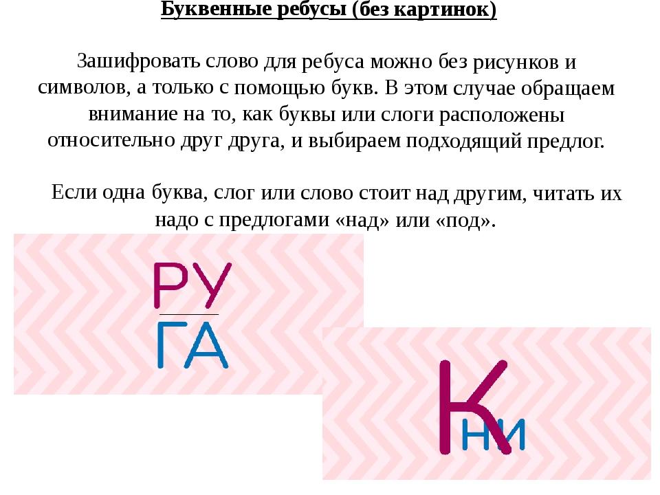 Буквенные ребусы (без картинок) Зашифровать слово для ребуса можно без рисун...