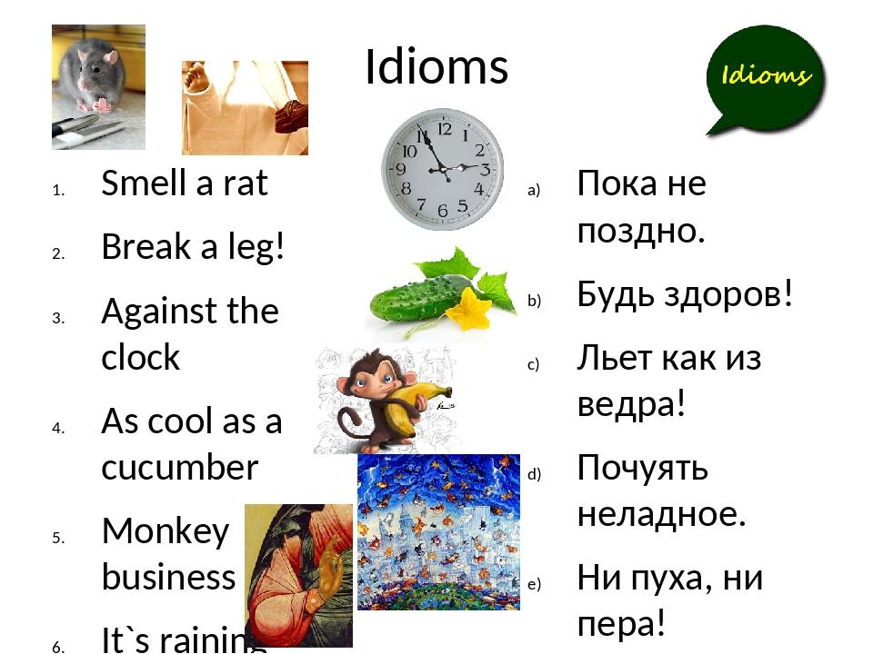 Idioms Smell a rat Break a leg! Against the clock As cool as a cucumber Monke...