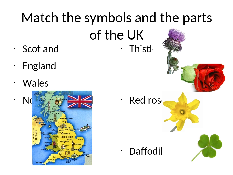 Match the symbols and the parts of the UK Scotland England Wales Northern Ire...