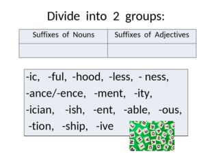 Divide into 2 groups: Suffixes of Nouns Suffixes of Adjectives -ic,-ful, -hoo