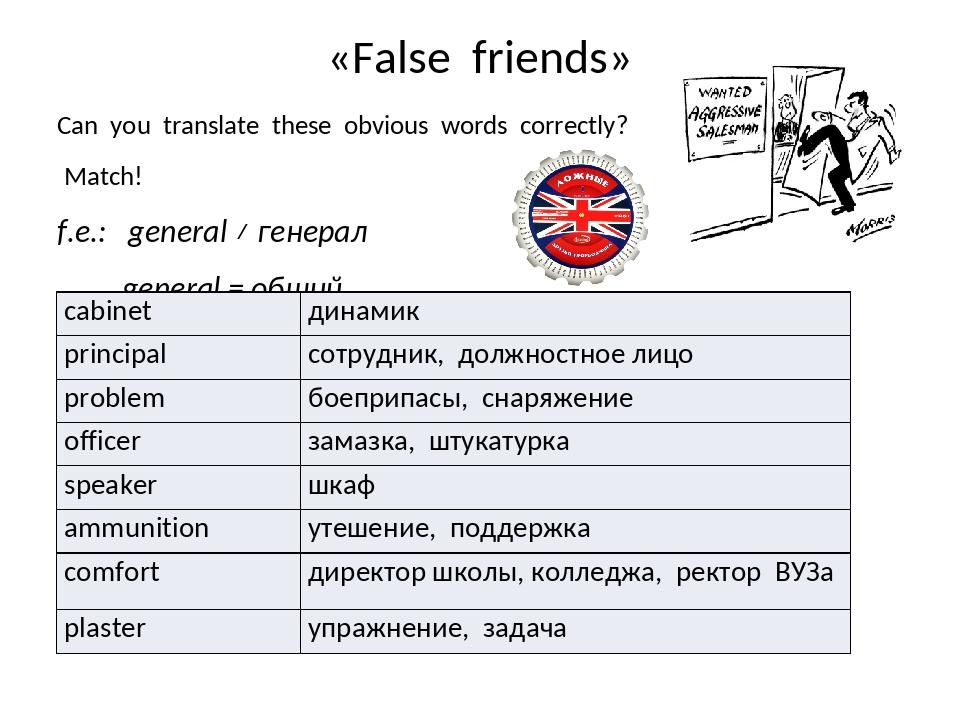 «False friends» Can you translate these obvious words correctly? Match! f.e.:...