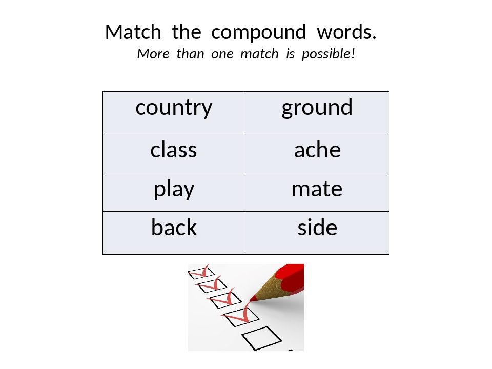 Match the compound words. More than one match is possible! country ground cla...