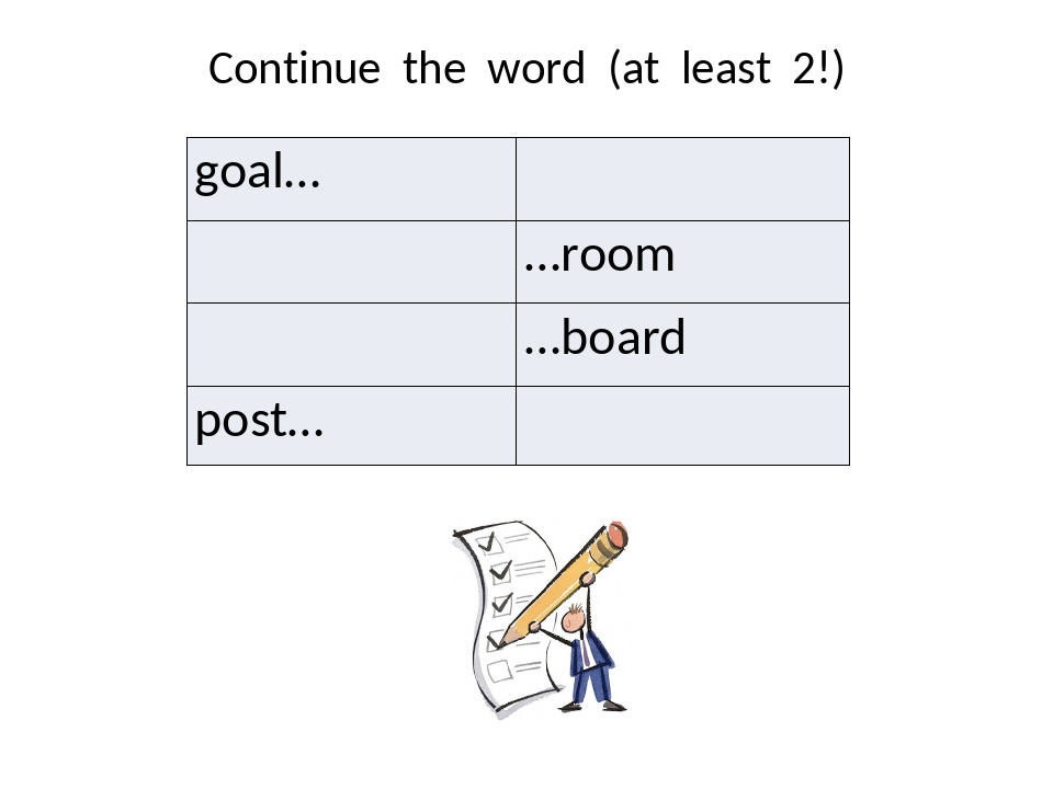 Continue the word (at least 2!) goal… …room …board post…
