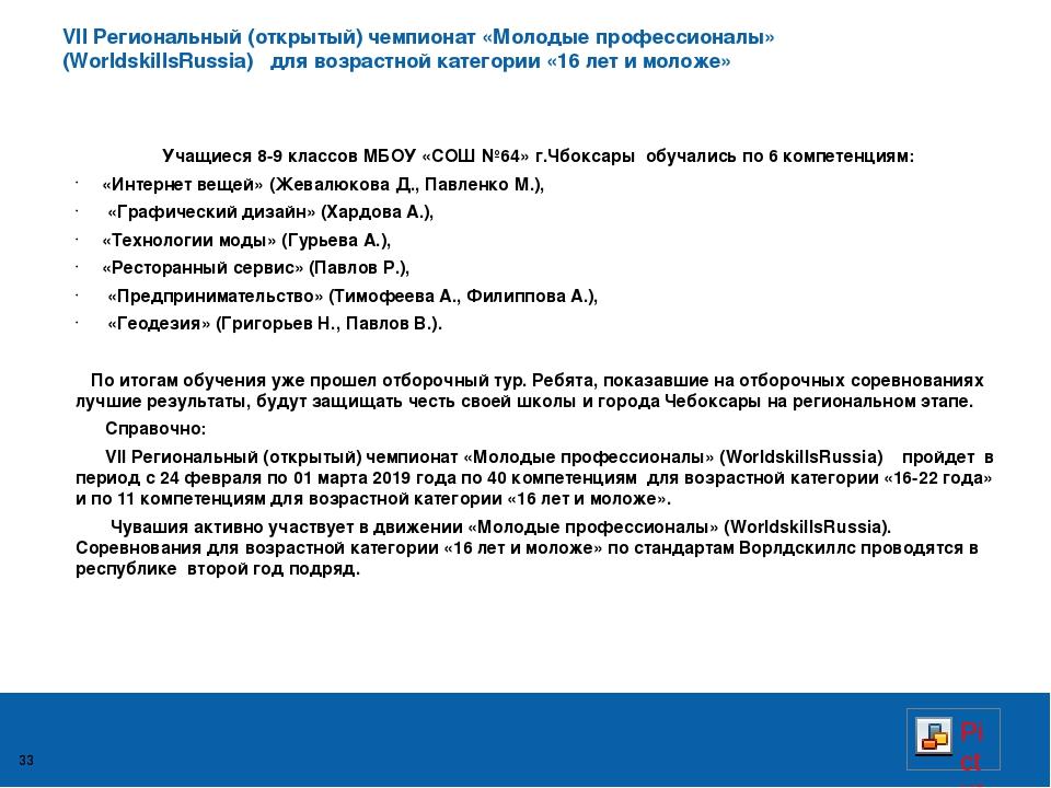 VII Региональный (открытый) чемпионат «Молодые профессионалы» (WorldskillsRus...