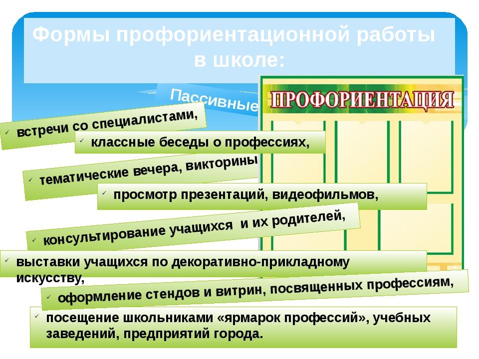 Пассивные Формы профориентационной работы в школе: встречи со специалистами,...
