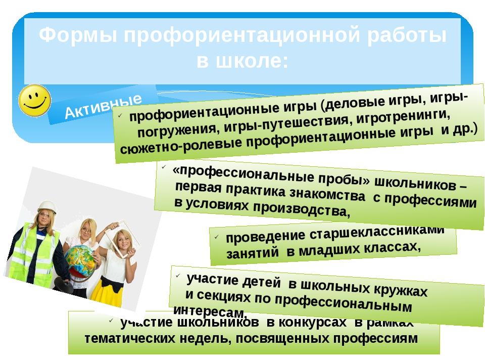 Активные Формы профориентационной работы в школе: проведение старшеклассникам...