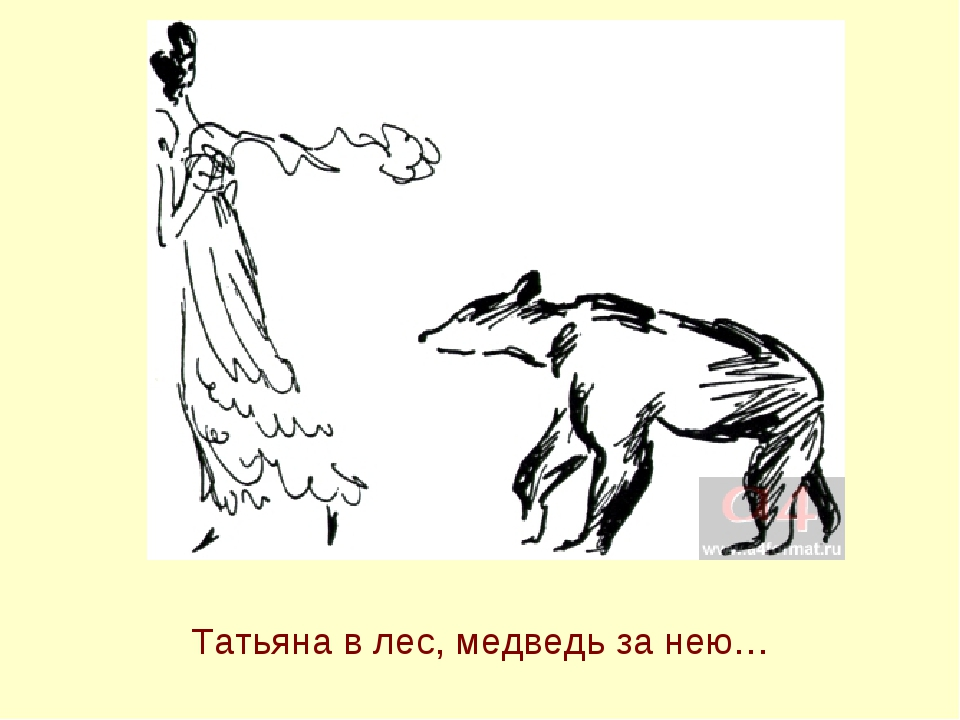 Татьяна в лес, медведь за нею…