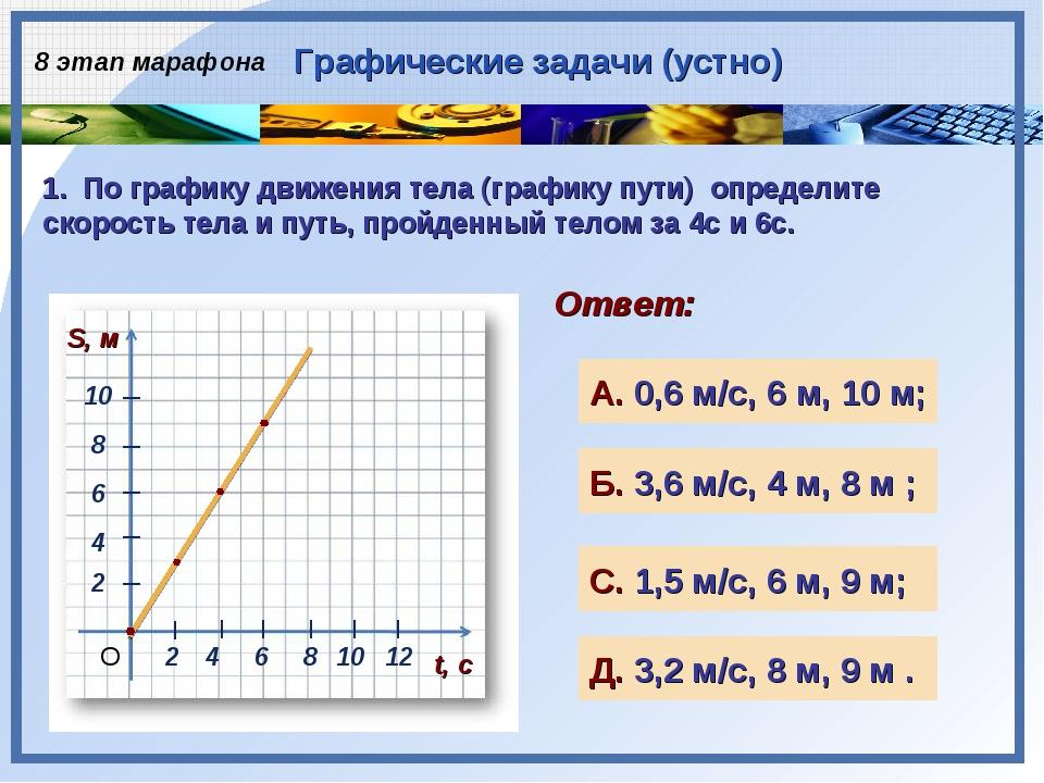 2 4 1. По графику движения тела (графику пути) определите скорость тела и пут...