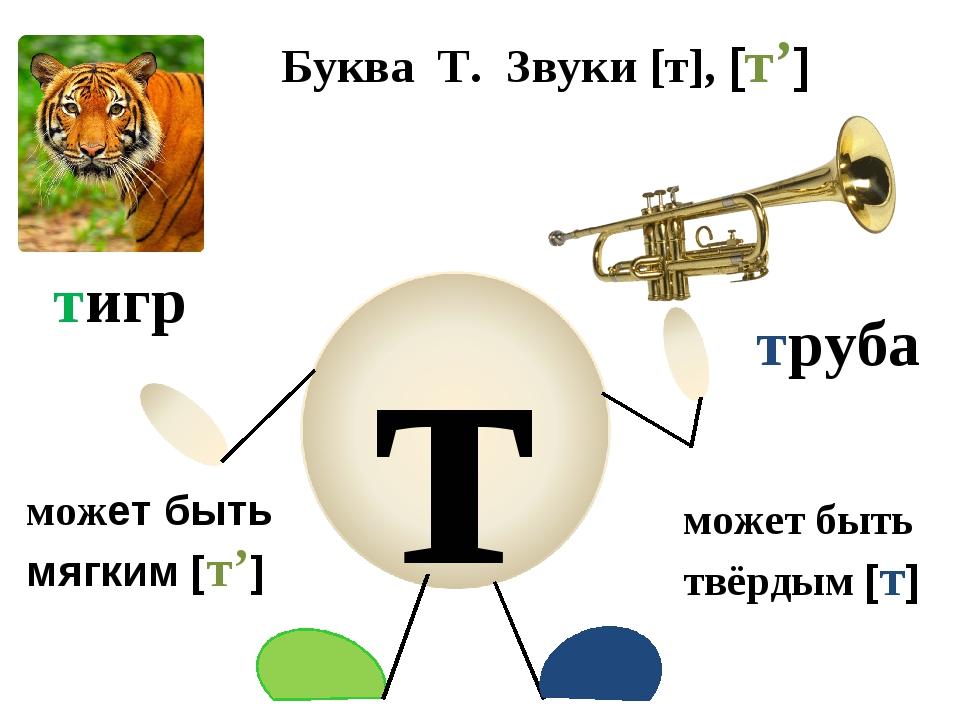 Буква Т. Звуки [т], [т'] может быть твёрдым [т] может быть мягким [т'] тигр т...