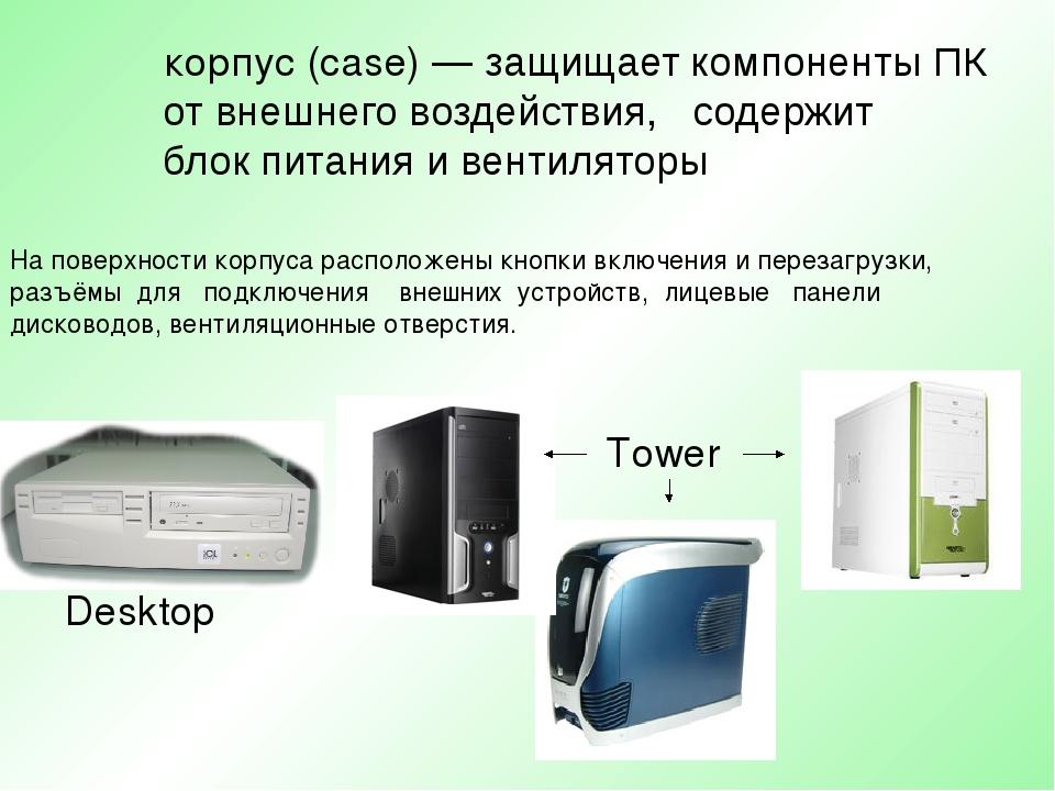 корпус (case) — защищает компоненты ПК от внешнего воздействия, содержит...