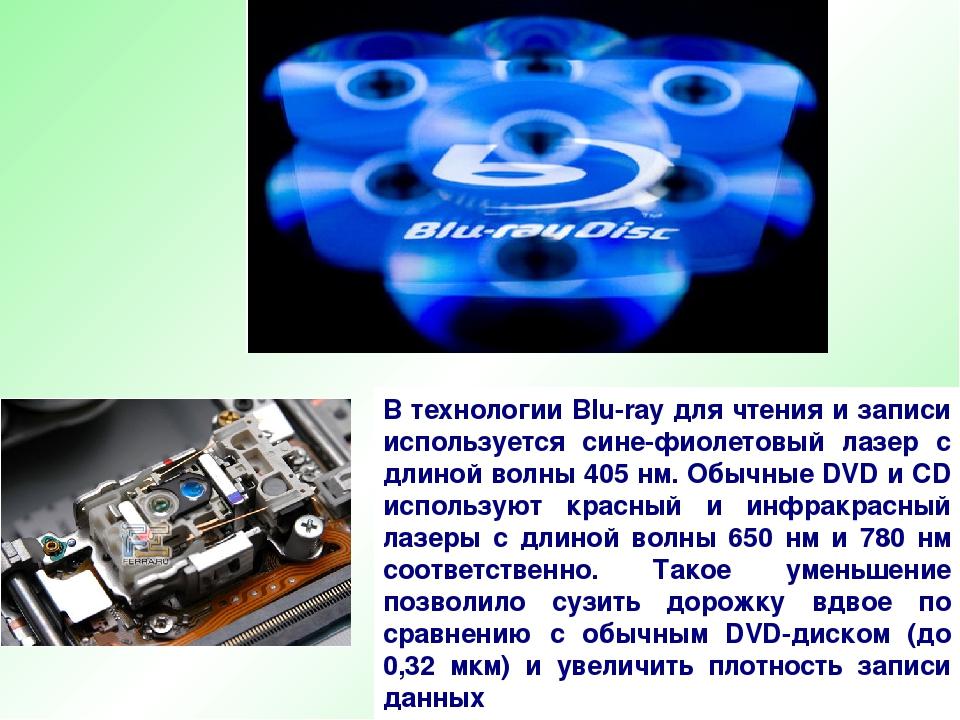 В технологии Blu-ray для чтения и записи используется сине-фиолетовый лазер с...
