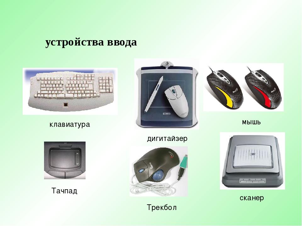 устройства ввода клавиатура мышь Тачпад дигитайзер сканер Трекбол