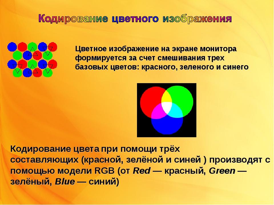 Цветное изображение на экране монитора формируется за счет смешивания трех ба...