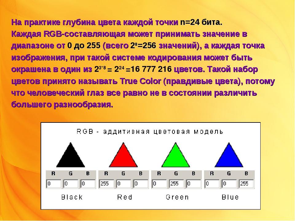 На практике глубина цвета каждой точки n=24 бита. Каждая RGB-составляющая мож...