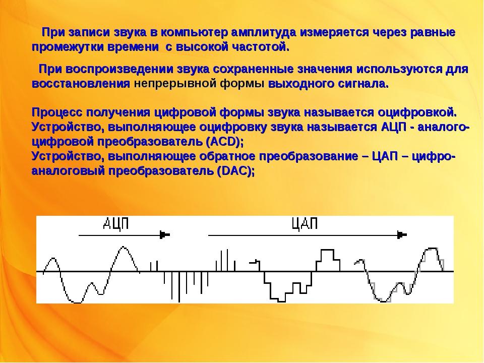 При записи звука в компьютер амплитуда измеряется через равные промежутки вр...