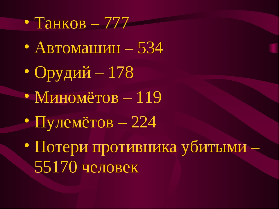 Танков – 777 Автомашин – 534 Орудий – 178 Миномётов – 119 Пулемётов – 224 Пот...